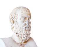 Statue of Herodotus in stoa of Attalos on white background Stock Image