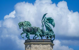 Statue at the Heroes square. In Budapest Hungary take on a beautiful sunny day Royalty Free Stock Photo
