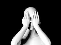 Statue hiding eyes. Fear and denial concept on black background Stock Photography