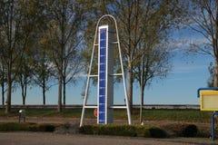 Statue at highway A20 to mark the lowest point of the Netherlands, 21 feet below sea level in Zuidplaspolder in Nieuwerkerk aan de. N IJssel stock photography