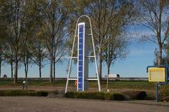 Statue at highway A20 to mark the lowest point of the Netherlands, 21 feet below sea level in Zuidplaspolder in Nieuwerkerk aan de. N IJssel stock photos