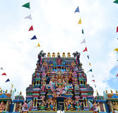 Statue of Hindu god on the facade, Penang,  Malaysia Stock Images