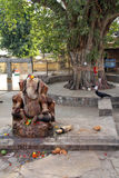 Statue of hindu god Ganesh near large tree Stock Image