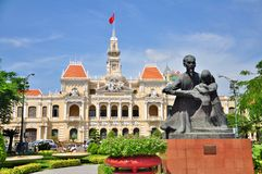 Statue of Ho Chi Minh and People's Committee Building Stock Photos