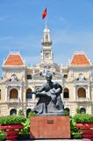 Statue of Ho Chi Minh and People's Committee Building Royalty Free Stock Images