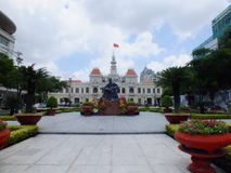 Statue of Ho Chi Minh and People's Committee Building. In Ho Chi Minh City, Vietnam Stock Images