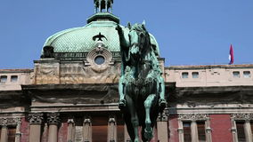 Statue of horse in front of the building in Belgrade stock video footage