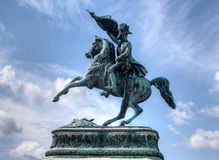 Statue horseman cavalry flag Royalty Free Stock Photos
