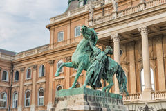 Statue of the Hortobagy horseherd in Buda castle. Budapest, Hungary. Statue of the Csikos, Hungarian horse wrangler, in the court of Buda castle in Budapest Royalty Free Stock Photography
