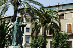 Statue and House in the street of Palma of Majorca. Spain Stock Image