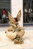 Statue humaine dans la rue d'achats, Malaga en Espagne Images libres de droits