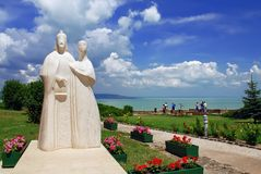 Statue of  Hungarian kings on Tihany abbey Royalty Free Stock Photos