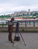 Statue of Hungarian painter Ignac Roskovics in Budapest, Hungary Royalty Free Stock Images
