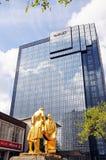 Statue and Hyatt Hotel, Birmingham. Statue of Matthew Boulton, James Watt, and William Murdoch by William Bloye with the Hyatt Hotel to the rear, Broad Street Stock Photography