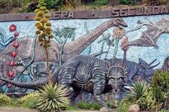 Display at a paleontology museum. Statue of an ice age hunting scene at a paleontology museum in Bolivar, Ecuador stock photography