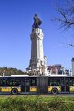 Statue im Quadrat, Marquesde pombal in Lissabon lizenzfreie stockfotografie