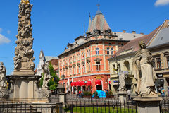 Statue of Immaculata and the Andrassy Palace, Kosice, Slovakia Stock Photography