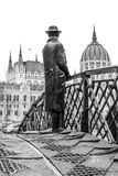 Statue of Imre Nagy looking at the building of Parliament in Bud Stock Photos
