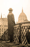 Statue of Imre Nagy looking at the building of Parliament in Budapest Stock Images