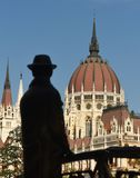 Statue of Imre Nagy and Parliament Building in Budapest. Hungary Stock Images