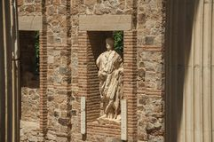 Free Statue In A Brick Wall On The Roman Forum Building At Merida Royalty Free Stock Photography - 142171887