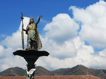 Statue of the Inca Pachacutec over the fountain at the Plaza de Royalty Free Stock Photography