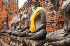 Statue incomplete di Ayutthaya della Tailandia Fotografia Stock Libera da Diritti