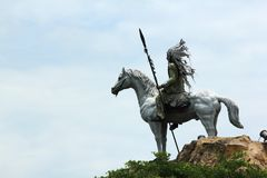 Statue of Indian tribes and horse riding. stock photography