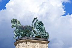Statue of iron at Heroes' Square in Budapest Stock Images