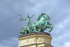 Statue of iron at Heroes' Square in Budapest Royalty Free Stock Photography