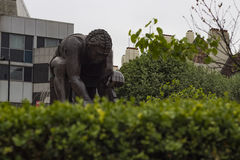 Statue of Isaac Newton at the British Library. London England - May 19 2016: Statue of Isaac Newton by Eduardo Paolozzi in the British Library in London England Royalty Free Stock Image