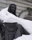 Statue of Isaac Newton. Statues of Isaac Newton in the winter, near Carnegie Library in Pittsburgh Royalty Free Stock Photo