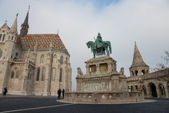 The statue of Istvan I and St. Matthias Church, Budapest, Hungary Royalty Free Stock Image
