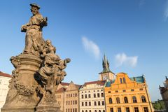 Statue on the Charles Bridge in Prague Stock Image