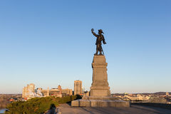 Statue of Jacques Cartier against a blue sky Royalty Free Stock Photography