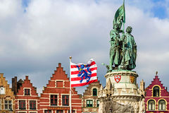 Statue of Jan Breydel and Pieter De Coninck. Bruges,Belgium Royalty Free Stock Images