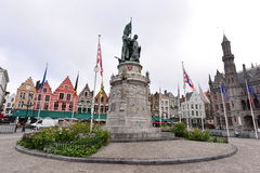 Statue of Jan Breydel and Pieter de Coninck in the centre of Grote Markt Stock Image