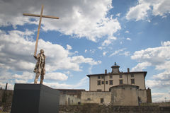 Statue by Jan Fabre at the Belvedere fortress in Florence, Italy. FLORENCE, ITALY - JULY 2016: Sculpture by the Belgian artist Jan Fabre at the Belvedere stock photo