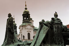 Statue of Jan Hus. In Prague on the oldtown square Royalty Free Stock Photo