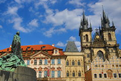 Statue Jan Hus, Galerie, Old Towen Square, Prague, Czech Republic Stock Photos