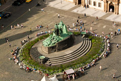 Statue Jan.-Hus in Prag stockbilder