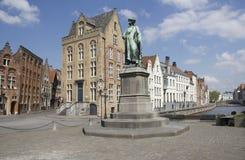 Statue of Jan van Eyck. Statue of medieval painter Jan van Eyck in Bruges, Belgium Stock Photos