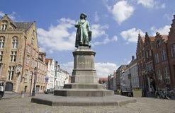 Statue of Jan van Eyck. Statue of medieval painter Jan van Eyck in Bruges, Belgium Royalty Free Stock Image