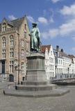 Statue of Jan van Eyck. Statue of medieval painter Jan van Eyck in Bruges, Belgium Stock Images