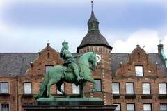 Statue of Jan Wellem in Dusseldorf. Equestrian statue of Johann Wilhelm II (Jan Wellem) in front of the City Hall in Dusseldorf, Germany Royalty Free Stock Photography