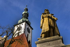 Statue of Jan Zizka in front of church in Tabor, Czech Republic. Jan Zizka Statue in front of church in Tabor Royalty Free Stock Image