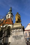 Statue of Jan Zizka in front of church in Tabor, Czech Republic. Jan Zizka Statue in front of church in Tabor Stock Photo