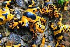 Statue jaune et arrière de grenouille Photo libre de droits