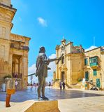 The statue of Jean de Valette, Valletta, Malta. VALLETTA, MALTA - JUNE 17, 2018: The monument to Jean de Valette, located on the square f his name, with a view Royalty Free Stock Photography