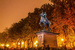 Statue of Jeanne d'Arc in Old Quebec. Canada, on a foggy night royalty free stock photography